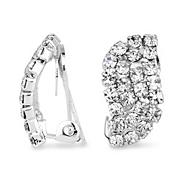 Diamante crystal silver wave clip on earring