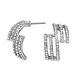 Jon Richard - Pave crystal triple row zig zag earring