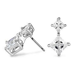 Jon Richard - Double crystal square drop earring