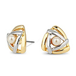 Jon Richard - Pearl and mixed metal triangular stud earring