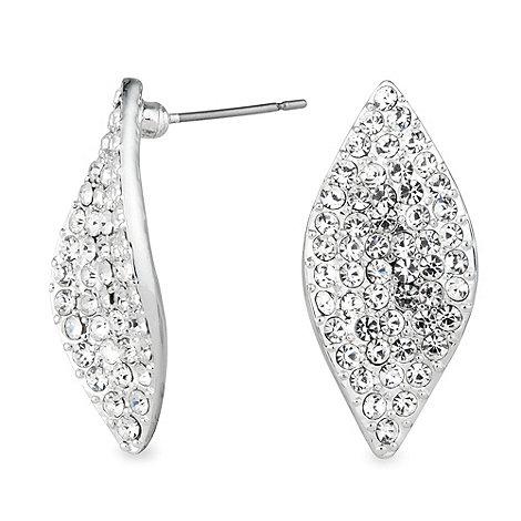 Jon Richard - Pave crystal silver leaf stud earring