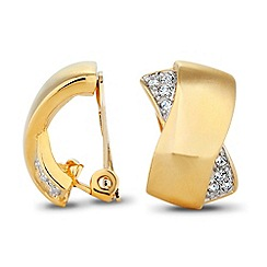Jon Richard - Pave and polished criss cross clip on earring