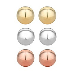 Jon Richard - Set of three mixed metal ball stud earrings