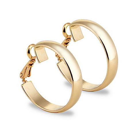 Jon Richard - Polished gold hoop clip on earring