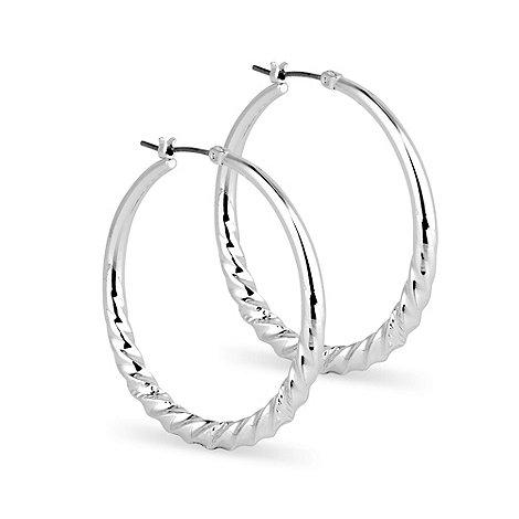 Jon Richard - Polished silver twist hoop earring