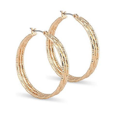 Jon Richard - Textured gold hoop earring