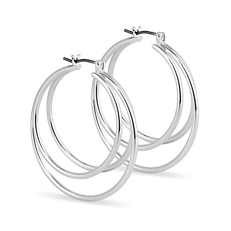 Jon Richard - Polished silver triple hoop earring