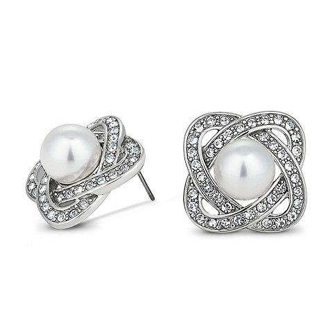 Jon Richard - Pearl set crystal knot stud earring