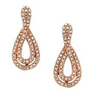 Crystal encased rose gold peardrop earring