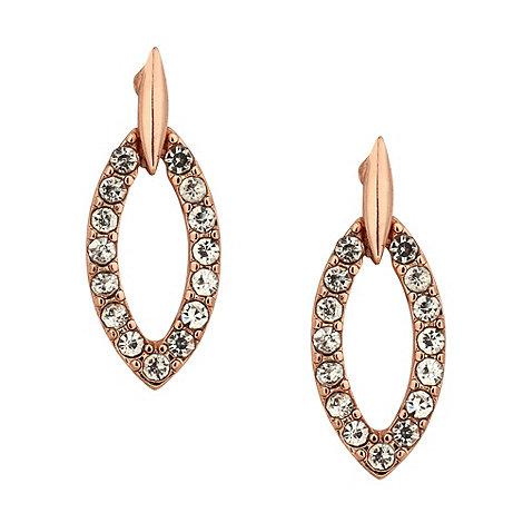 Jon Richard - Crystal encased rose gold navette drop earring