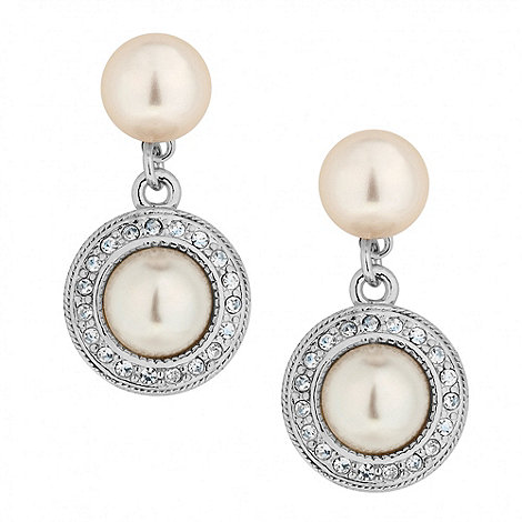 Alan Hannah Devoted - Designer crystal surround pearl drop earring