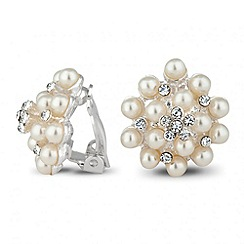 Jon Richard - Pearl and crystal cluster clip on earring