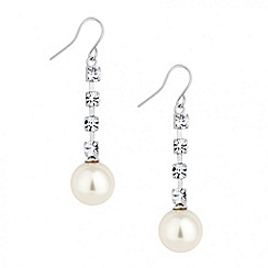 Jon Richard - Diamante crystal and pearl drop earring