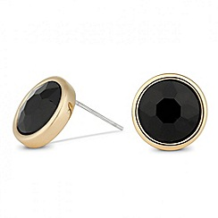 Jon Richard - Jet stone gold surround stud earring
