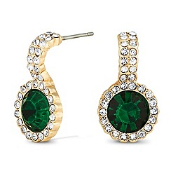 Jon Richard - Round green crystal drop earring