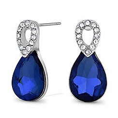 Jon Richard - Blue peardrop and crystal top earring