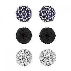 Jon Richard - Set of three crystal coloured stud earrings