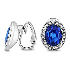Jon Richard - Blue oval stone crystal surround clip on earring