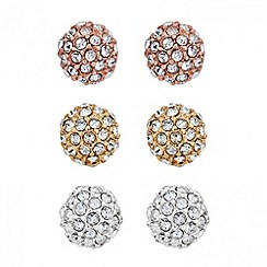 Jon Richard - Set of three multi tone crystal stud earrings