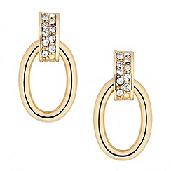 Jon Richard - Crystal link and gold oval drop earring