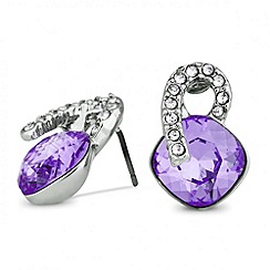 Jon Richard - Purple square crystal top earring made with SWAROVSKI ELEMENTS