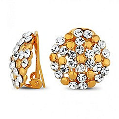 Jon Richard - Polished gold and crystal cluster clip on earring