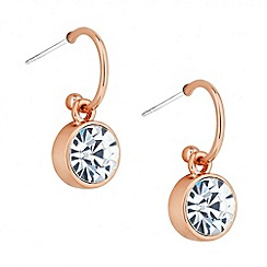 Jon Richard - Rose gold crystal round drop earring
