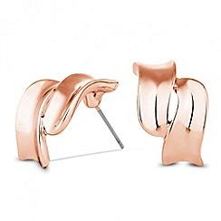 Jon Richard - Rose gold double wave stud earring