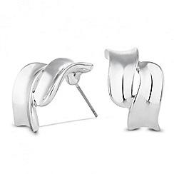 Jon Richard - Polished silver double wave stud earring