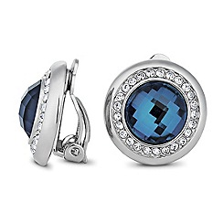 Jon Richard - Blue circular stone crystal surround clip on earring
