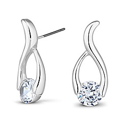 Jon Richard - Polished cubic zirconia loop earring