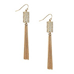 Jon Richard - Silver crystal barrel and tassel drop earring
