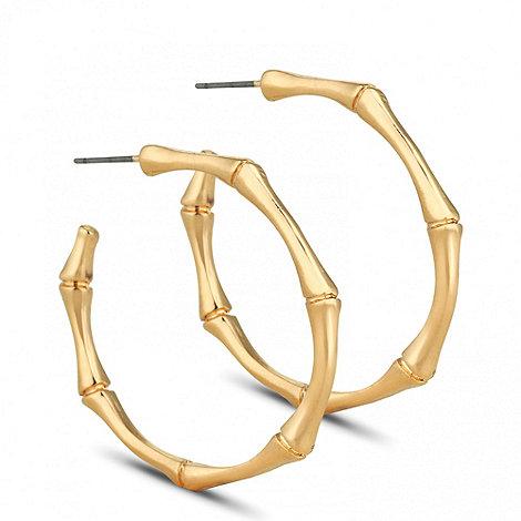 Jon Richard - Polished gold bamboo hoop earring