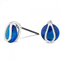 Jon Richard - Round blue crystal and silver clasped stud earring