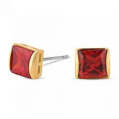 Jon Richard - Red cubic zirconia square stud earring