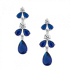 Jon Richard - Blue cubic zirconia navette drop earring