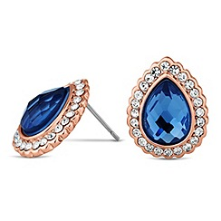 Jon Richard - Blue teardrop surround stud earring