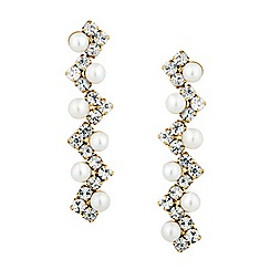 Jon Richard - Pearl and diamante zig zag gold drop earring
