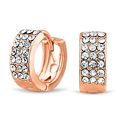 Jon Richard - Rose gold crystal mini hoop earring