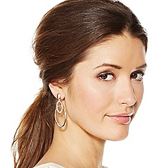 Jon Richard - Rose gold and crystal double oval drop earring