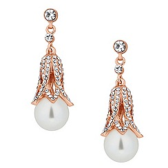 Jon Richard - Rose gold crystal capped pearl drop earring
