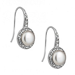 Jon Richard - Pearl and crystal surround drop earring