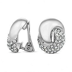 Jon Richard - Polished silver and crystal twist clip on earring