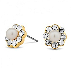 Jon Richard - Mini crystal and pearl flower stud earring