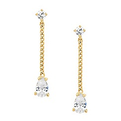 Jon Richard - Gold chain cubic zirconia teardrop earring