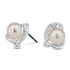 Jon Richard - Cream pearl and crystal wrap stud earring