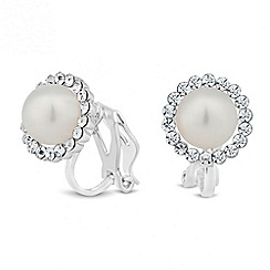 Jon Richard - Mini pearl crystal surround clip on earring