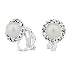 Jon Richard - Mini pearl crystal surround clip on earring