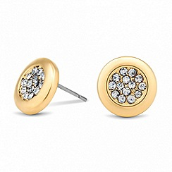 Jon Richard - Crystal encased circular gold stud earring