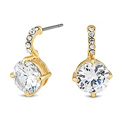 Jon Richard - Polished gold cubic zirconia set drop earring